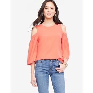Ann Taylor Coral Cold Shoulder Top W Bell Sleeve
